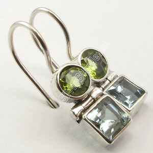 925-Silver-PERIDOT-amp-BLUE-TOPAZ-Earrings-1-034-SEMI-PRECIOUS-GEMSTONE