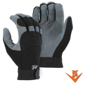 MAJESTIC-2140-Mechanics-Deerskin-Split-Leather-Work-Gloves-Velcro-Size-M-2X