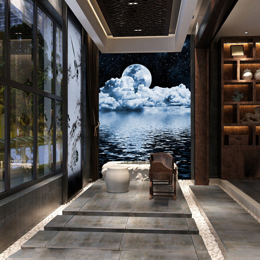 3D Sea Full Moon 9099 Wall Paper Wall Print Decal Wall Deco Wall Indoor Murals