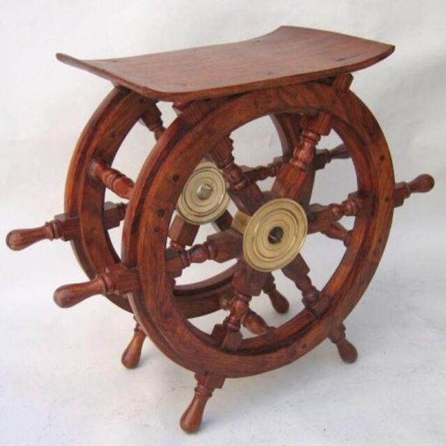 "24"" Wood / Brass Ships Wheel End Table ~ Nautical Maritime Furniture"