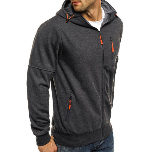 Men Solid Hoodie Zip Hooded Sweatshirt Casual Sport Jacket Coat Winter Outerwear