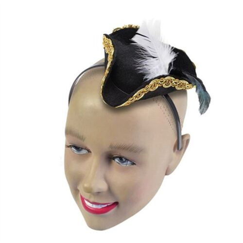 Black Mini Pirate Hat On Headband Fancy Dress Accessory Adult Buccaneer