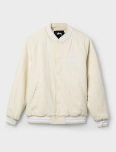 69eda4504c13 Image is loading Stussy-Stock-Varsity-Jacket-Off-White-MSRP-165