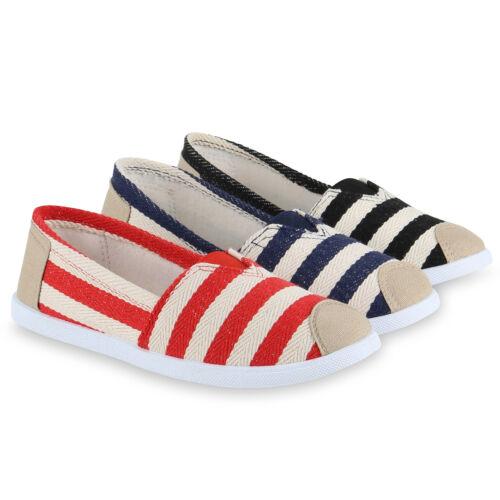 Damen Slipper Slip-ons Prints Freizeit Streifen Maritim 814787 Schuhe