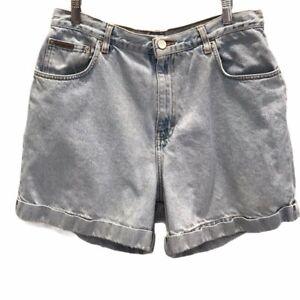 Calvin Klein Womens Jean Shorts Blue Light Wash Cuffed High Rise Vintage 15/16