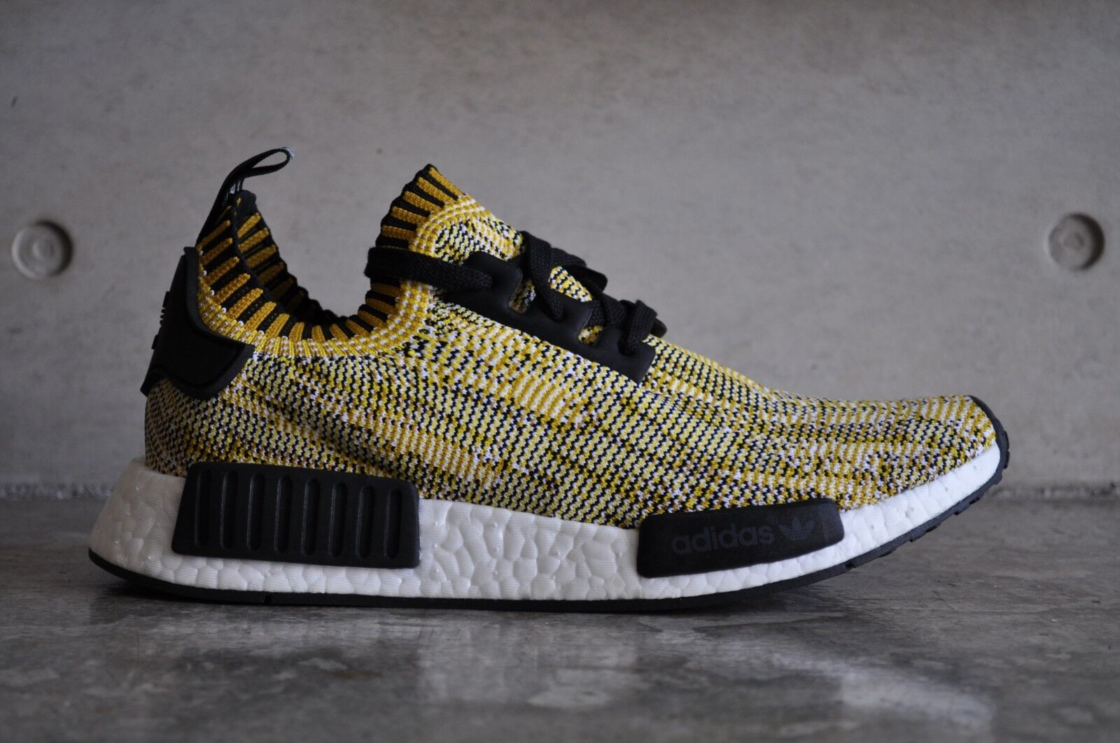 reputable site a72cf 12744 Details about Adidas NMD R1 Primeknit Yellow Black 7 UK 40 2/3 EUR 7.5 US