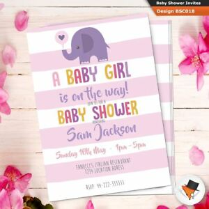 Personalised baby shower invitations invites for girl pink elephant image is loading personalised baby shower invitations invites for girl pink filmwisefo