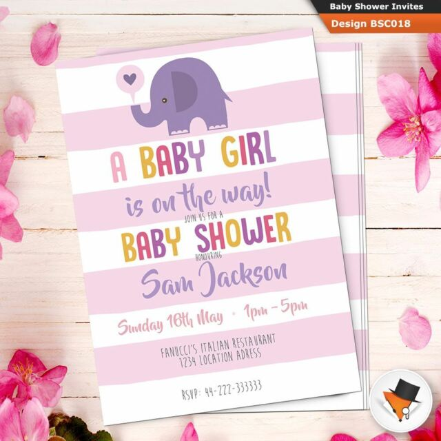 Personalised Baby Shower Invitations Invites For Girl Pink Elephant