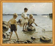 Boys Playing on the Shore Albert Edelfelt Kinder  Meer Strand B A2 00304 LW