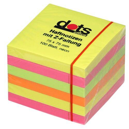 Neu 6 x dots Z-Faltung dots Haftnotizen Haftnotizen /& Notizwürfel Klebezettel!