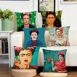 Frida-Kahlo-Coton-Lin-Oreiller-Jete-Etui-Canape-Coussin-Housse-Camping-car-Decor