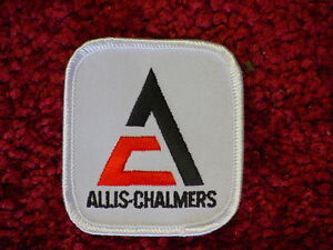 (2) ALLIS CHALMERS TRACTOR WHITE LOGO PATCHES