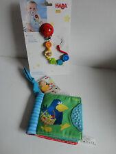 Haba Schnullerkette Stier + Softbuch Buggybuch Stoffbuch Obstgarten
