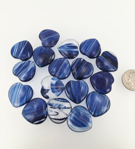SIX pieces Shimmering heart beads Dark blue Rutilated Quartz heart beads