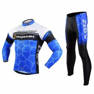 Men/'s Cycling Clothing Long Sleeve Cycle Jersey and Padded Cycling Trousers Kit