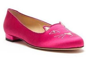 caf1fb480ff Image is loading Charlotte-Olympia-KITTY-Cat-Embroidered-Fuchsia -Satin-Smoking-