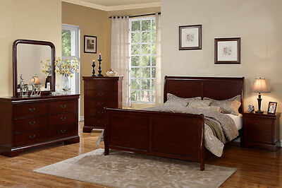 Cherry wood Bed frame Bedroom Furniture 4 Pc Beds Dresser Queen King Bedroom set