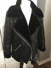Zara Faux Fur Collar Aviator Shearling Biker Jacket Coat XL Uk 14 Acne Style