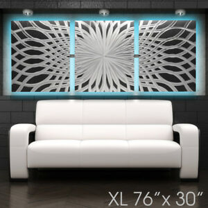 Xl Led Backlit Modern Abstract Metal Wall Art Contemporary Sculpture Home Decor Ebay