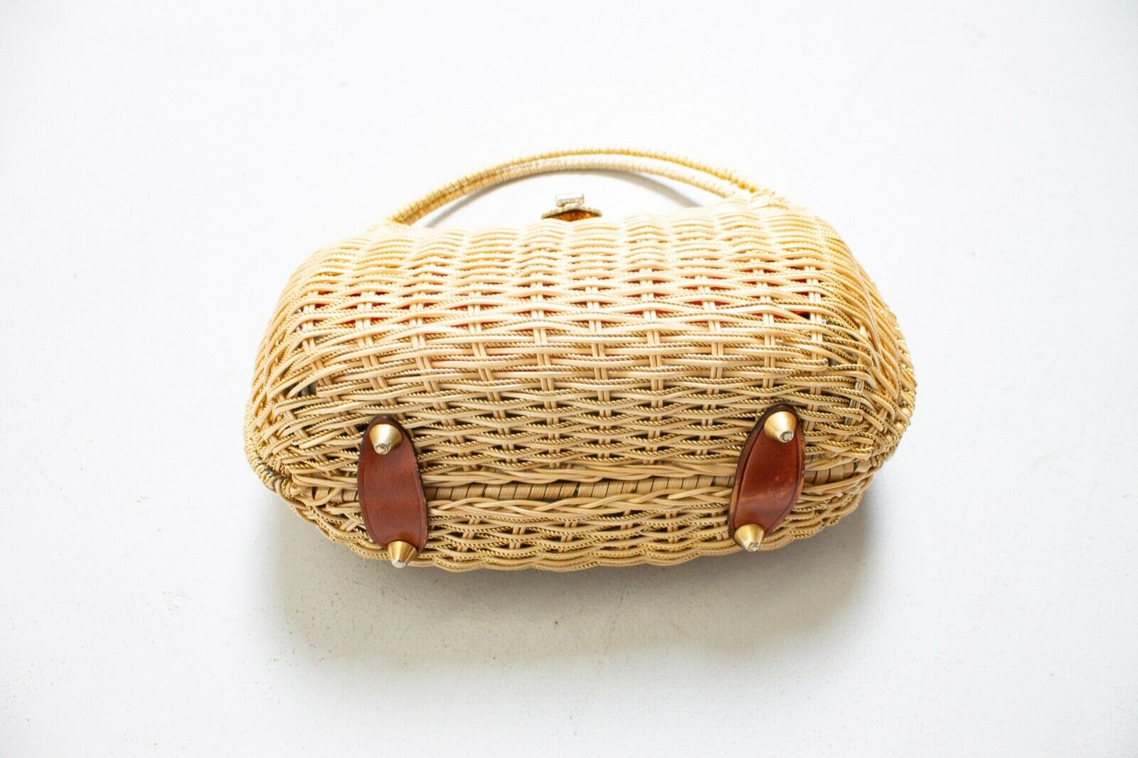 Vintage Basket Purse 1960s Gold Metal Woven Wicke… - image 2
