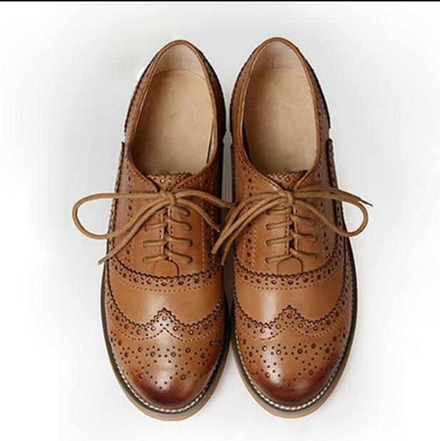 Donna Retro Oxfords Pelle Flat Low Heels Brogues Wingtip Lace Up Dress Shoes