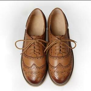 Womens-Retro-Oxfords-Leather-Flat-Low-Heels-Brogues-Wingtip-Lace-Up-Dress-Shoes