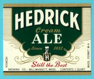 MA Hedrick Ale 32oz label #2 NOS Willimansett New Old Stock