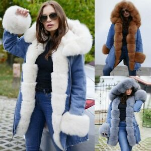 Womens-Fleece-Winter-Denim-Jacket-Hooded-Coat-Fishtail-Long-Sleeves-Overcoat