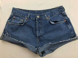 LUCKY-BRAND-LOW-RISE-DUNGAREES-CUT-OFF-JEAN-SHORTS-SZ-30