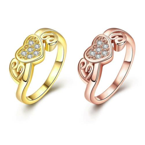18K Rose Gold Plated Fashion Ring AAA Zirconia Women Heart B242