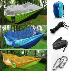 Portable Parachute Fabric Hammock with Mosquito Net for Camping, Hanging Bed