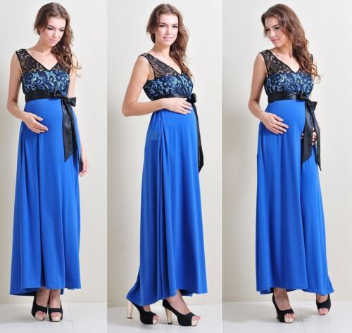 38 Maternity Evening dress,Baby Shower Wedding Party Gown Maxi black blue