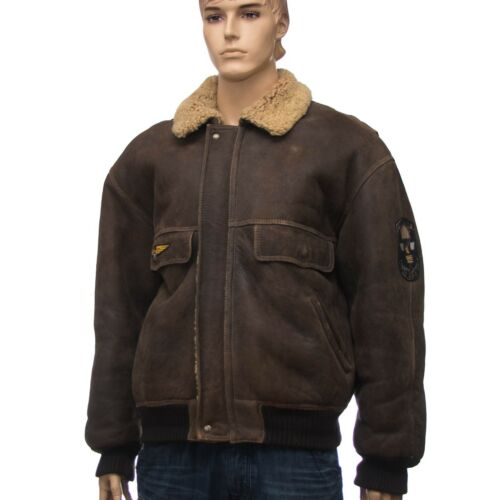 Lammfelljacke Leather ll118u Brown Jacket Leder Xl Size Bomberjacke pgExrpwqB