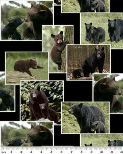 Fat Quarter On The Wild Side Black Bears Cotton Quilting Fabric