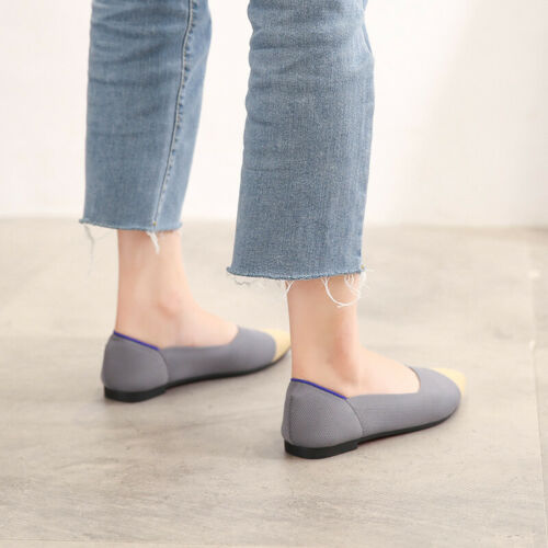 Beige Color Mixing Flats Slip On Knitting Fabric Soft Comfy Walking Women Shoes