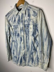 Polo-Ralph-Lauren-Small-Shirt-Blau-Azteken-Indianer-Jagd-Western-VTG-RRL-Tie-Dye