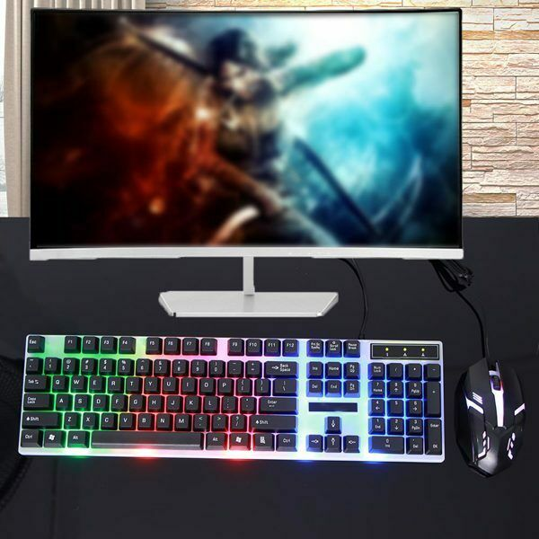 Gaming Keyboard Mouse Set Rainbow LED Wired USB For PC Laptop PS4 Xbox One S