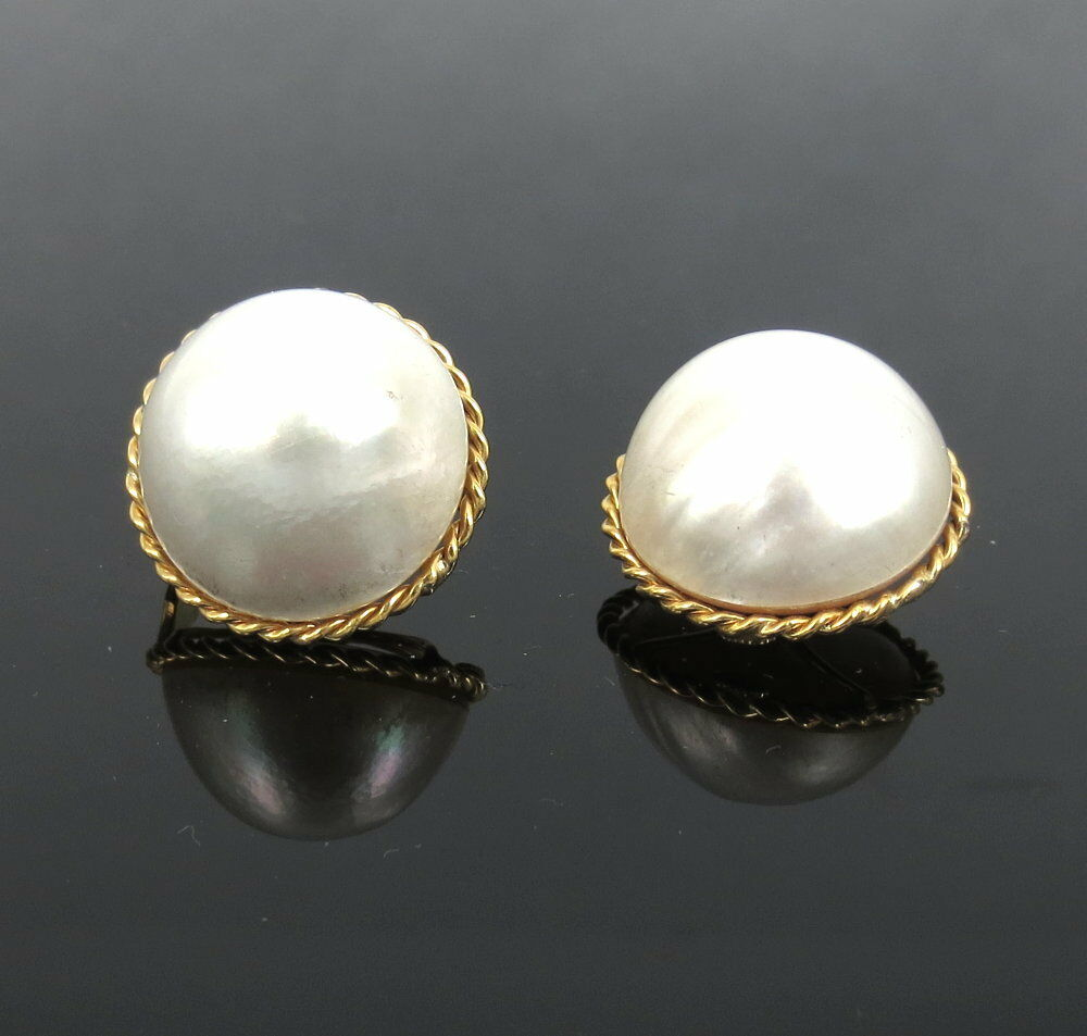 Vintage 21mm Mabe Pearl & 18K Yellow gold Large Size Earrings