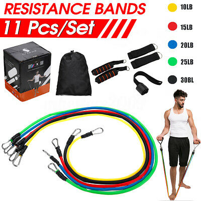 11Pcs Fitness Resistance Bands Exercise Workout Bands Elastic Pull String