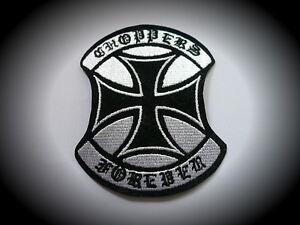 Chopper-Forever-Iron-Cross-Patch-Skull-Badge-Biker-Kutte-Aufbuegler-Harley