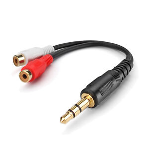 6/' MP3//PC//iPHONE//iPOD STEREO Y ADAPTER 3.5mm RCA AUDIO CABLE USA SELLER WARRANTY