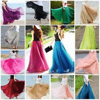 Womens Double Layer Chiffon Pleated Retro Long Maxi Dress Elastic Waist Skirt #