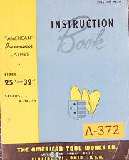 American Tool 25 32 Lathe Instructions Manual