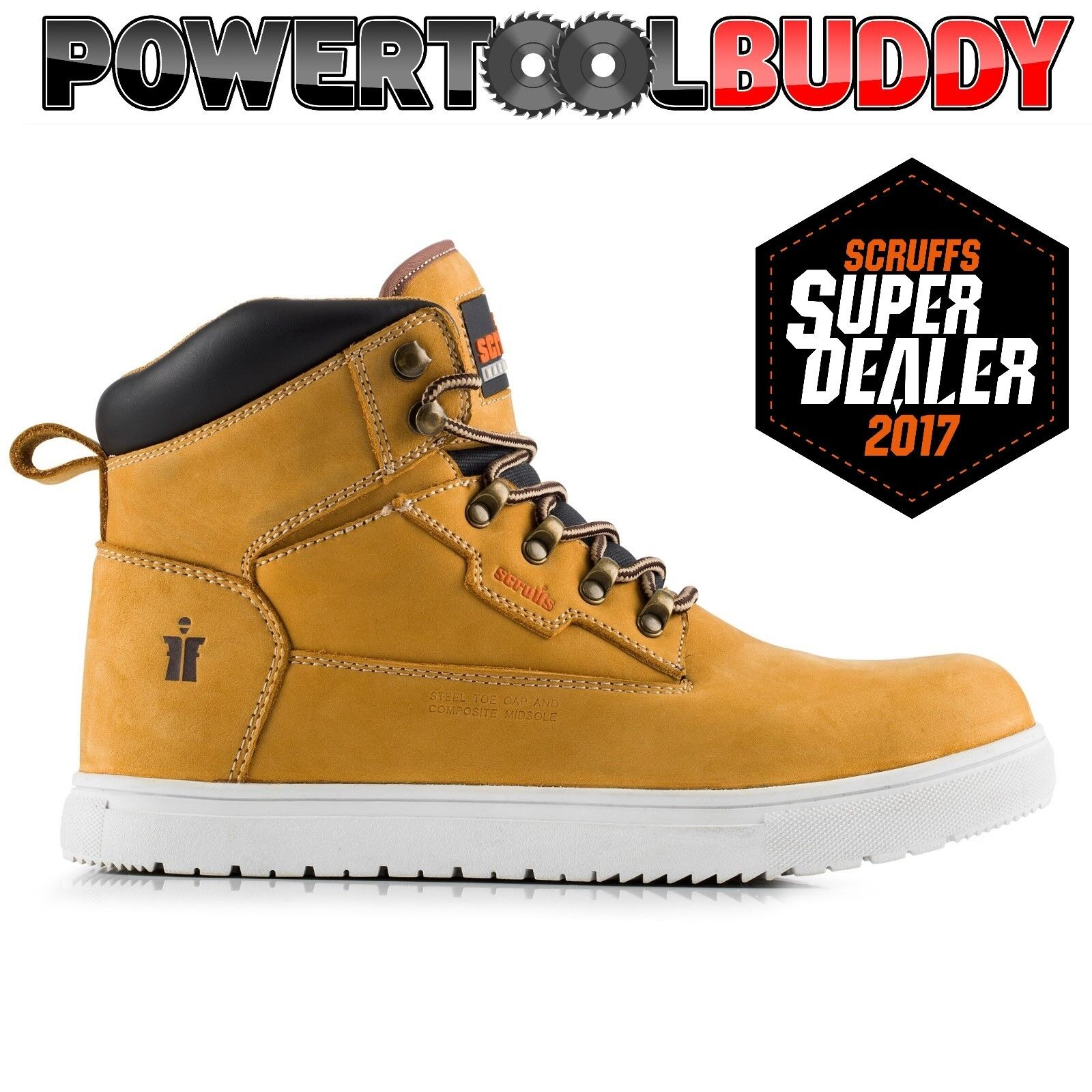 SCRUFFS TWISTER SPORT  Uomo Tan Work Site Safety Stiefel STEEL TOE CAP New Style