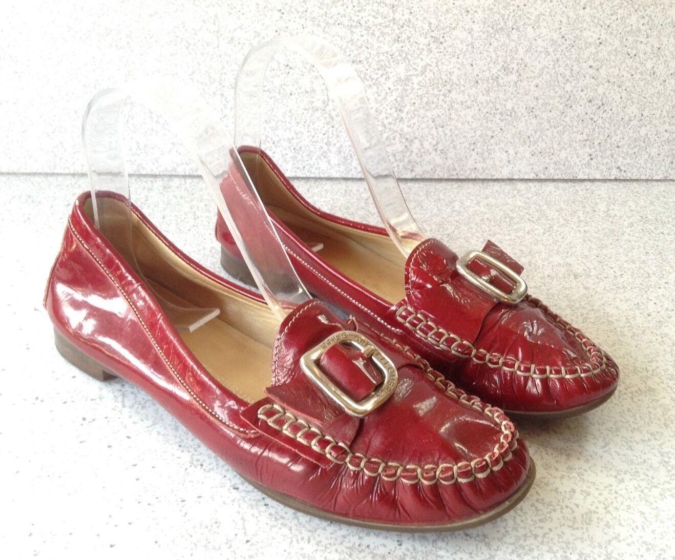 Attilio Giusti Leombruni Loafers Women's Loafers Leombruni Size 36 Red Patent Leather White Stitch ba6580