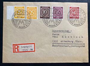 1946 Leipzig Germany Registered Cover To Altenburg Fair Cancel