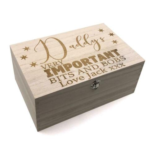 Daddy/'s Personalised Large wooden Bits and Bobs Keepsake Box Gift HB-91