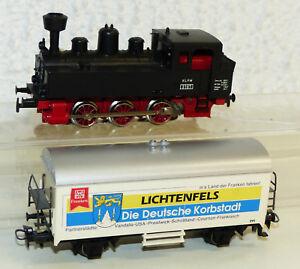 2x-Maerklin-Tenderlok-KLVM-3197-mit-Gueterwagen-Korbmarkt-1999-Lichtfels-SoMo-H0