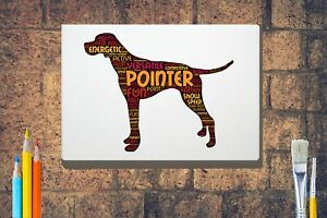 Pointer-Dog-Word-Art-Canvas-A4-A3-A2-A1-Mothers-Day-Gift-Personalised-Option