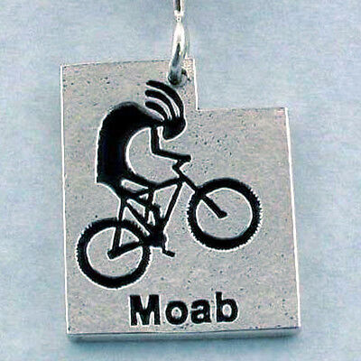 Mountain Biking Kokopelli  Moab Utah Hand Crafted Sterling Silver Necklace Bike